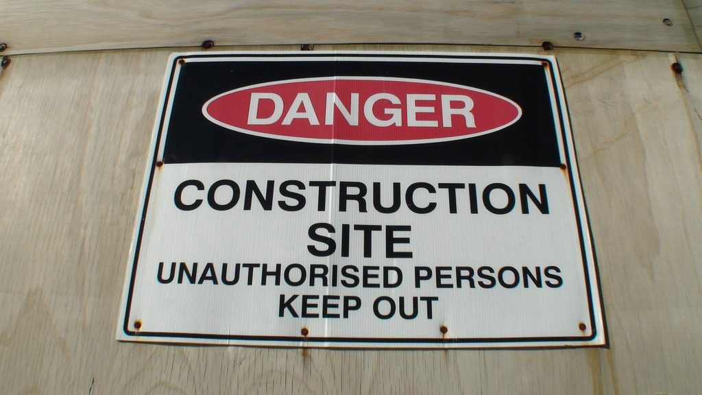 DANGER Construction site unauthorized persons keep out