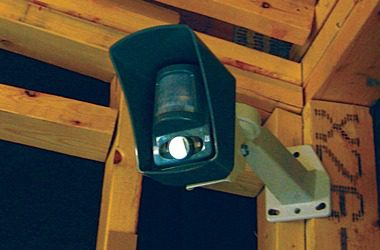 Surveillance camera mounted in construction site
