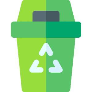 A green recycling container